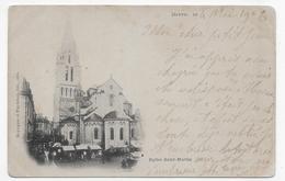 BRIVE EN 1903 - EGLISE SAINT MARTIN ANIMEE - CPA VOYAGEE - Brive La Gaillarde