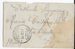 STORIA POSTALE REGNO - ANNULLO FRAZIONARIO PONTICELLI (NA) 40-92 SU BUSTINA PER POZZUOLI - 1900-44 Vittorio Emanuele III