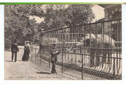 CPA-75-1905-PARIS-LE JARDIN DES PLANTES-LE PALAIS DES ÉLÉPHANTS-ANIMÉE-3 PERSONNAGES ET DEUX ÉLÉPHANTS- - France