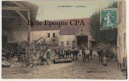 91 - CHAMPROSAY - La Ferme / Machines Agricoles ++++ 1908 ++++ RARE / Colorisée - France