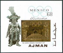 """1968 Ajman """"Mexico 68"""" Olimpiadi Olyimpic Games Jeux Olympiques Gold Printed MNH** B144 - Sommer 1968: Mexico"""