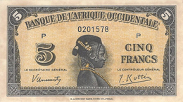 FRENCH WEST AFRICA 5 FRANCS 1942 P-28a UNC SERIE P S/N 0201578 [FWA115a] - Other - Africa