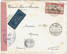 CTN49/13 - EGYPTE LETTRE AVION DU TRIBUNAL MIXTE D'ALEXANDRIE POUR SAULGE FEVRIER 1940 CENSURE - Egypt