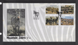 Namibia, 1991, Mountain Zebra, Set Of 4,  FIRST DAY COVER Special Cancel - Namibia (1990- ...)
