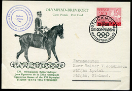 Sweden Sverige 1956 Card Summer Olympic Equestrian Games Horse Rider Reitspielen Jeux équestres STOCKHOLM > Finland - Sommer 1956: Melbourne