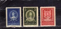 HRVATSKA CROATIA CROAZIA 1943 FAMOUS CROATS CATHERINE PETER ZRINSKI KRSTO FRANKOPAN COMPLETE SET SERIE COMPLETA MLH - Croatia