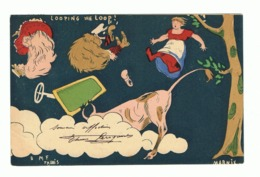 Illustrateur MARNIX ( M F Paris)  Humour - 1904 - Déboires D'un Couple En Auto - Looping !- Taureau (fr47) - Illustrators & Photographers