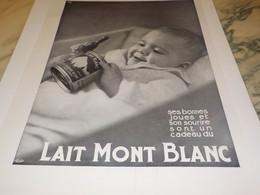 ANCIENNE PUBLICITE LAIT MONT BLANC  1931 - Posters