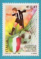 [DC0607] CARTOLINEA - JUVENTUS - JUVE - CAMPIONE D´ITALIA 2002/2003 - RIPROD. FRANCOBOLLO EMESSO DA POSTE ITALIANE - Calcio