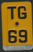 Velonummer Mofanummer Thurgau TG 69 (erste Kleine Gelbe Töfflinummer TG) - Plaques D'immatriculation