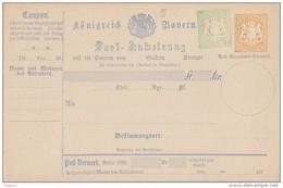 Bayern Ganzsache Postanweisung Minr.A9 III Postfrisch - Bayern