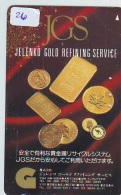 Télécarte Japon * D'OR * PHONECARD JAPAN * FINE GOLD * GOLDBARS  (26)  MONNAIE * COINS  * MONEY - Timbres & Monnaies