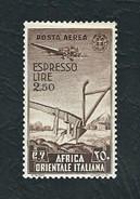 A.O.I. 1938 - Espressi Aerei - Aratro E Aereo - 2,50 L. Bruno - MH - Sa:IT EA A13 - Africa Orientale Italiana