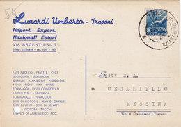 """TRAPANI / Cartolina Pubblicitaria """" LUNARDI Umberto """" Firma _ Viaggiata 1949 - Trapani"""
