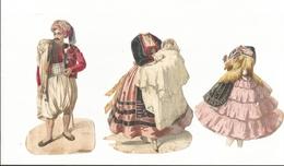 Personage  Chromos Ancien Costume Folklorique Lot De 3 - Découpis