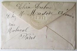 CARTE DE VISITE MONSSERVIN SENATEUR DE L AVEYRON & ENVELOPPE 1893 TAMPON SENAT TIMBRE MOUCHON 5 VERT LA CRESSE - Tarjetas De Visita