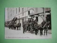 PARIS  -  75  -  POMPIERS  -  Caserne De La Rue Haxo  -  Les Départs Attelés  -  Editions ATLAS - Taxi & Carrozzelle