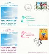 Deux Plis Concorde - 1er Vol Commercial  Paris-Marrakech Et Marrakech-Paris - Air France - 1985 - Avec Certificats - Concorde