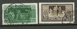 ITALY 1929 Michel 319 - 320 O Klosterante Monte Cassino NB! Fettige Falzspuren ! - Oblitérés
