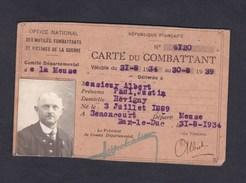 Carte Du Combattant Croix Du Combattant Paul Albert Revigny Sur Ornain Né à Senoncourt Meuse - Documents Historiques