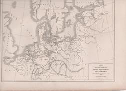 CARTE POUR SERVIR A L'HISTOIRE DES VILLES ANSEATIQUES DRESSEE PAR L DUSSIEUX 1854 - Landkarten