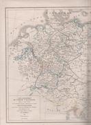 CARTE GEOGRAPHIQUE DE L'EMPIRE D' ALLEMAGNE DIVISEE EN NEUF CERCLES DRESSEE PAR L DUSSIEUX 1854 - Landkarten