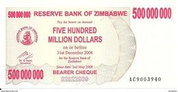 ZIMBABWE 500 MILLION  DOLLARS BEARER CHEQUE 2008 UNC P 60 - Zimbabwe
