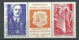 "Andorre YT 399A Triptyque "" Gal De Gaulle "" 1990 Neuf** - Andorra Francesa"