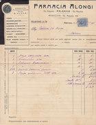 """PALERMO  _ 1926  /  Prodotti Farmaceutici - Farmacia  """" ALONGI """" _ Marca Da Bollo Su Fattura - Italia"""