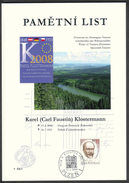 Czech Rep. / Commemorative Sheet (PaL 2008/01) Plzen 1: Year Of Karel Klostermann (1848-1923) Writer Of Sumava Mountains - Blocks & Sheetlets