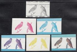 Nevis  Owls  Birds  6  Pairs  Colour Trials  12 MNH Stamps  #  75419 - Owls