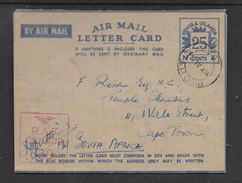 E.A. A.P.O. 68 15 IV 44, (Dar Es Salaam) Air Mail Letter Card > S.Africa, R.A.F.CENSOR 839 - Kenya, Uganda & Tanganyika
