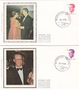 Série De 4 FDC - BAUDOUIN Sur Soie/zijde -   Timbres  N° 2124/7 - 1981-90