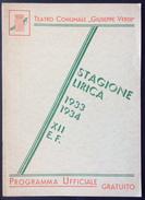1933 TRIESTE TEATRO G. VERDI STAGIONE LIRICA 1933-34 PROGRAMMA UFFICIALE / COATES - CAPUANA - BUCAMELLI - BRANCUCCI - Programmi