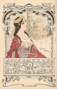Gaston Noury Princesse Brune à La Couronne, Robe Rouge Et Mauve + église, Coffre (coffret) Animaux. Style Art Nouveau - Autres Illustrateurs