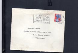 """Flamme 69 Lyon  """" Lyon Grande Ville De France Syndicat Iniative"""" / Devant De Lettre - Postmark Collection (Covers)"""