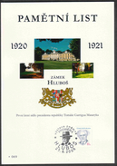 Czech Rep. / Commemorative Sheet (PaL 2008/04) Hlubos: Hlubos Castle, First Summer Residence Pres. Tomas G. Masaryk - Blocks & Sheetlets