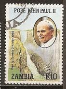 Zambie Zambia 1989 Visite Pope Victoria Falls Obl - Zambia (1965-...)