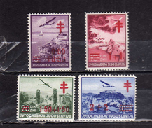 JUGOSLAVIA YUGOSLAVIA 1940 RED CROSS CROCE ROSSA CROIX ROUGE AIR MAIL SURCHARGED COMPLETE SET SERIE MNH - Nuovi