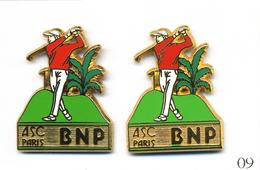 LOT 2 Pin´s Banque / Assurance - Banque BNP / ASC Paris - Golf - Tons Verts Différents. Est. Ballard. Zamac. T457-09B - Banques