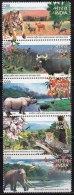 India MNH 2007, Se-tenent Set Of 5, National Parks Animal Elephant Rhino Leopard Tiger Bird Deer Buffalo Butterfly Plant - India
