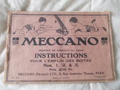 Meccano Instructions Pour L'emploi Des Boites N° 1 2 Et 3 N° 16043 - Meccano