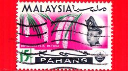 MALESIA - MALAYSIA - Usato - 1965 - PAHANG - Orchidee - Rhynchostylis Retusa - Sultano Abu Bakar - 15 - Malesia (1964-...)