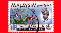 MALESIA - MALAYSIA - Usato - 1965 - PERAK - Orchidee - Arachnanthe Moschifera - Sultano Idris Shah - 10 - Malesia (1964-...)