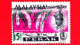 MALESIA - MALAYSIA - Usato - 1965 - PERAK - Orchidee - Rhynchostylis Retusa - Sultano Idris Shah - 15 - Malesia (1964-...)