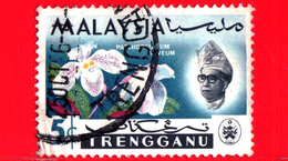 MALESIA - MALAYSIA - Usato - 1965 - TRENGGANU - Orchidee - Paphiopedilum Niveum - Sultano Ismail - 5 - Malesia (1964-...)