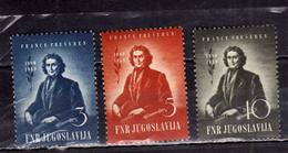 JUGOSLAVIA YUGOSLAVIA 1949 FRANC PRESERN COMPLETE SET SERIE COMPLETA MNH - 1945-1992 Repubblica Socialista Federale Di Jugoslavia