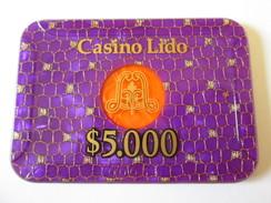 Rare! Lido Token Casino 5000 $/Jeton De Casino Lido 5000 $.Size/dimensions=95 X 65 X 4 Mm - Casino