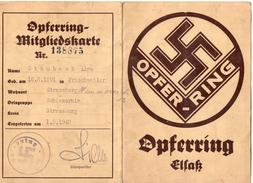 OPFERRING MITGLIEDSKARTE N° 138875  -  Mai 1942  (  DOCUMENT ORIGINAL )  ORTSGRUPPE - SCHIESSRAIN  STRASBOURG - Documenti