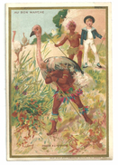 """Chromo Au Bon Marché """"chasse à L'autruche"""" Indiens, Garçonnet Costume Marin  Imp. Vallet,Minot Cie 12cm X 8cm - Au Bon Marché"""